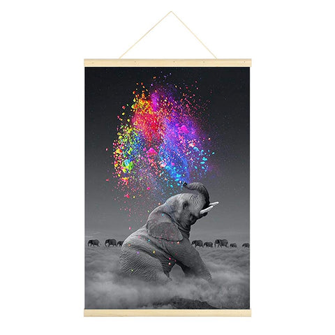 Colorful Elephant 5D DIY Full Round Drill Hanging Diamond Painting with Frame
