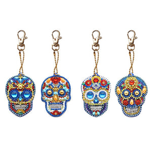 4pcs DIY Diamond Painting Keychain Special-shaped Full Drill Skull Ornament