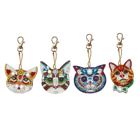 4pcs DIY Diamond Painting Keychain Special-shaped Full Drill Cat Ornament