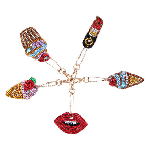 5pcs DIY Ice Cream Full Drill Special Shaped Diamond Painting Keychain Gift