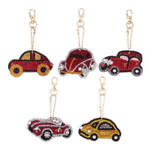 5pcs DIY Car Full Drill Special Shaped Diamond Painting Keychains Pendant