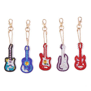 5pcs DIY Violin Full Drill Special Shaped Diamond Painting Keychains Gifts