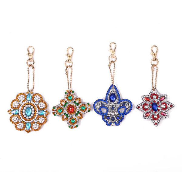 4pcs DIY Full Drill Special Shaped Diamond Painting Keychain Pendant Gifts