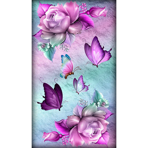 Flower Butterfly DIY Full Drill Round Drill Diamond Painting(30X48cm)