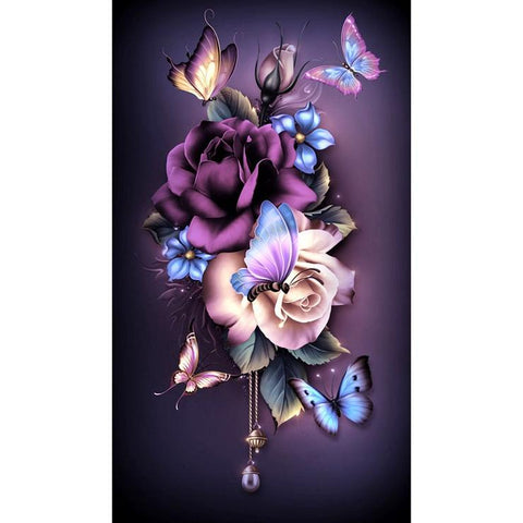 Bloosm Flower Butterfly 5D DIY Full Drill Round Drill Diamond Painting