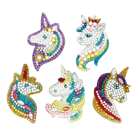 Unicorn 5pcs DIY Special Shaped Full Drill Diamond Painting Horse Keychain Key Ring