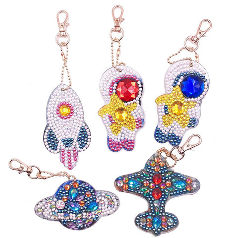 5pcs DIY Planet Full Drill Special Shaped Diamond Painting Keychains Gifts