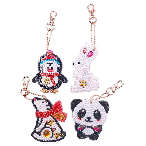 4pcs DIY Animals Full Drill Special Shaped Diamond Painting Keychains Gifts