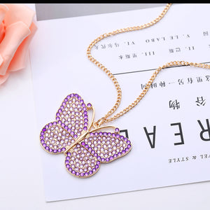 DIY Full Drill Diamond Painting Key Chain Butterfly Necklace Bag Pendant