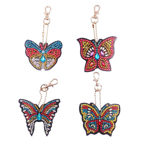 4pcs DIY Butterfly Full Drill Special Shaped Diamond Painting Keychain Gift
