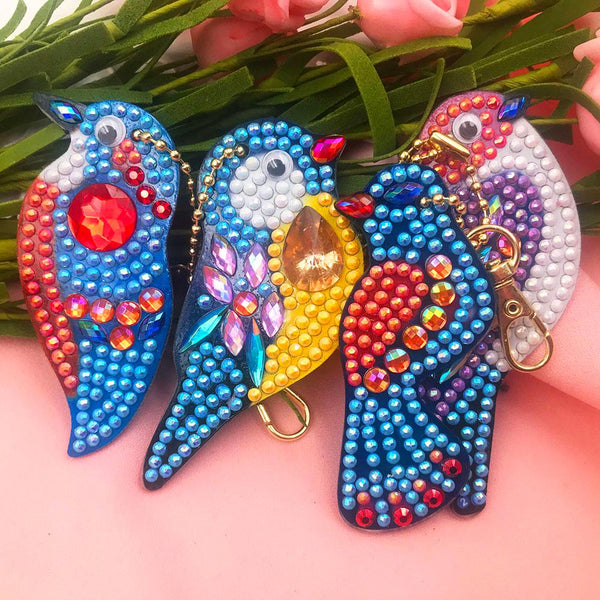 4pcs DIY Birds Full Drill Special Shaped Diamond Painting Keychains Gifts