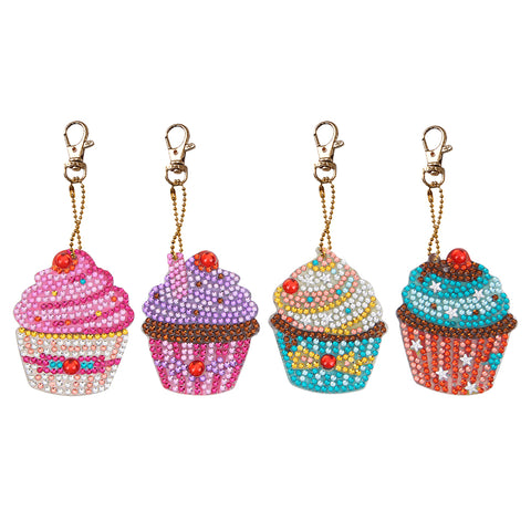 4pcs DIY Cupcake Full Drill Special Shaped Diamond Painting Keychains Gifts