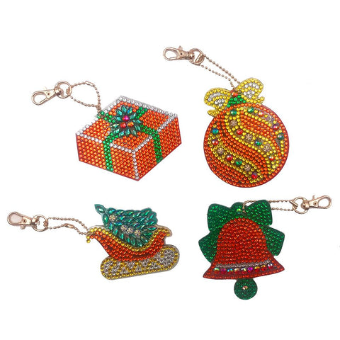 4pcs DIY Christmas Full Drill Special Shaped Diamond Painting Keychain Gift