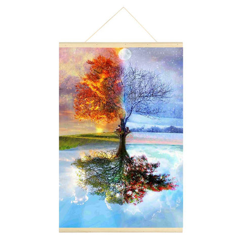 Season Tree 5D DIY Full Round Drill Hanging Diamond Painting with Frame