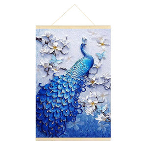 Peacock 5D DIY Full Round Drill Hanging Diamond Painting With Frame