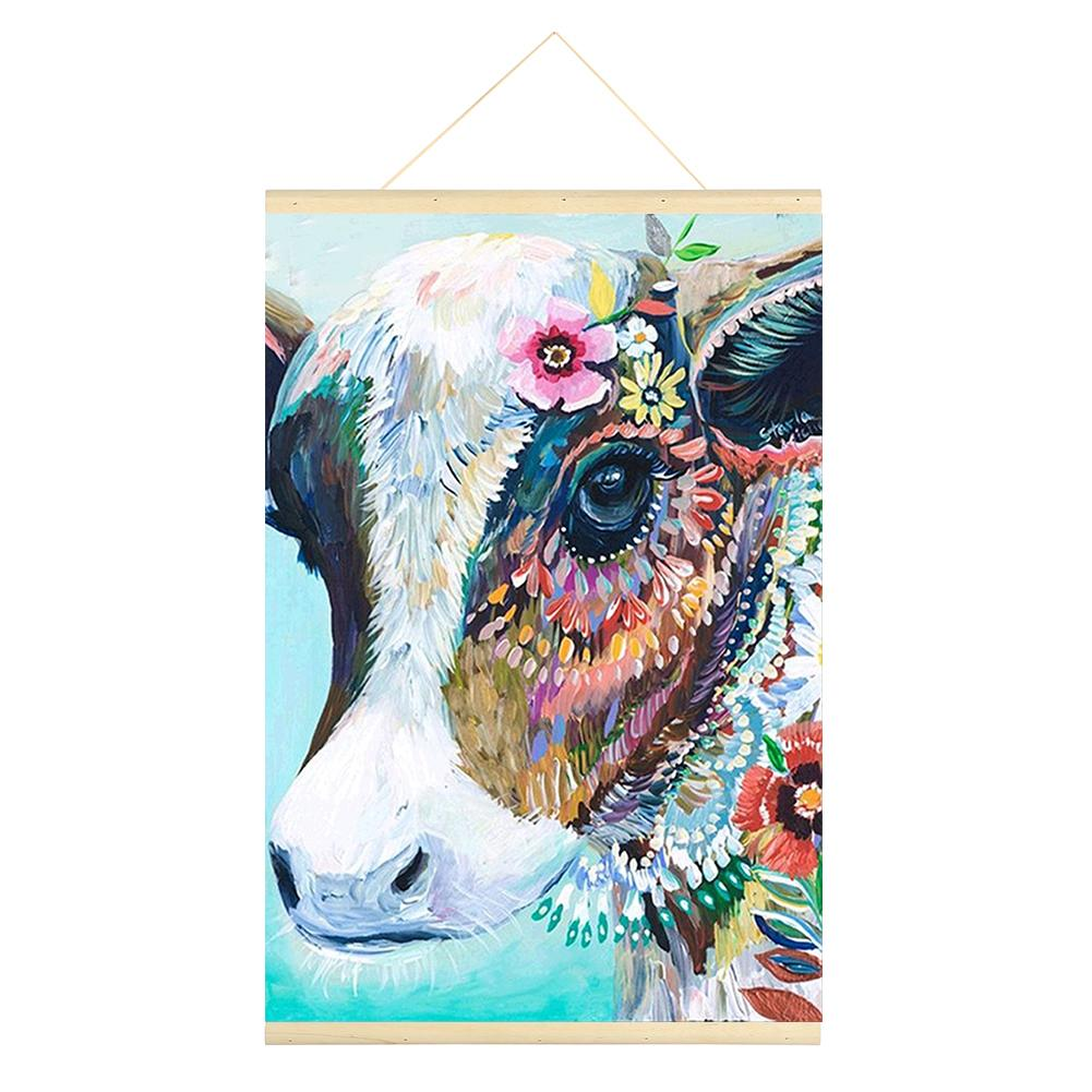 Cattle 5D DIY Full Round Drill Hanging Diamond Painting With Frame