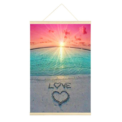 Colorful Beach Love Heart 5D DIY Full Round Drill Hanging Diamond Painting With Frame