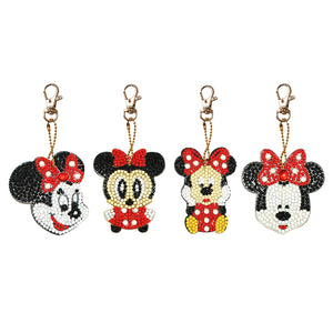 4pcs DIY Full Drill Diamond Painting Mickey and Minnie Keychains Jewelry