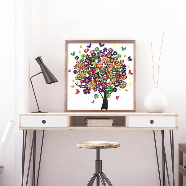 5D DIY Crystal Rhinestones Partial Drill Diamond Painting Butterfly Tree Craft Kits