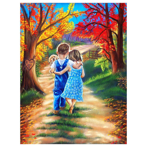 Childhood Sweethearts DIY Full Drill Round Drill Diamond Painting