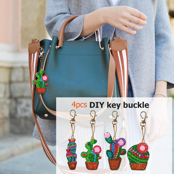 4pcs Cactus DIY Crystal Rhinestones Diamond Painting Keychain Jewelry