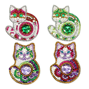 4pcs Cat DIY Crystal Rhinestones Diamond Painting  Keychain Pendant