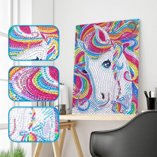 Rainbow Colors Horse 5D DIY Crystal Rhinestones Partial Drill Diamond Painting