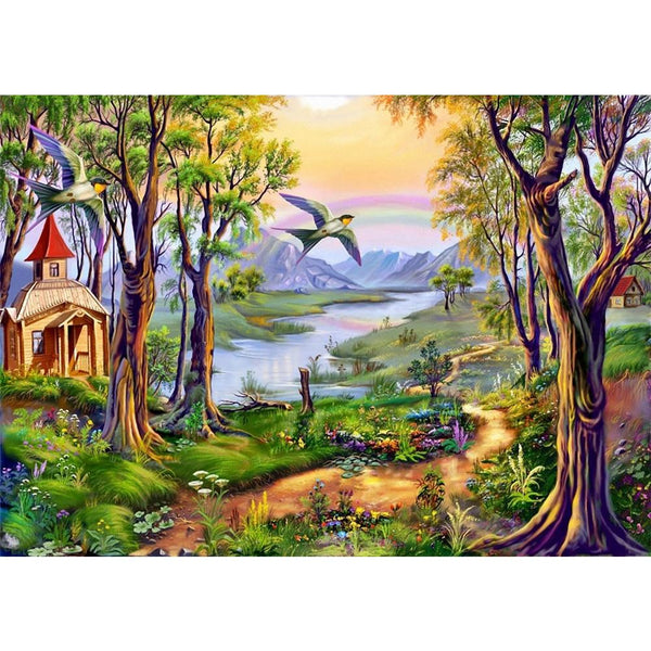 Countryside Scenery 5D DIY Full Round Drill Diamond Painting
