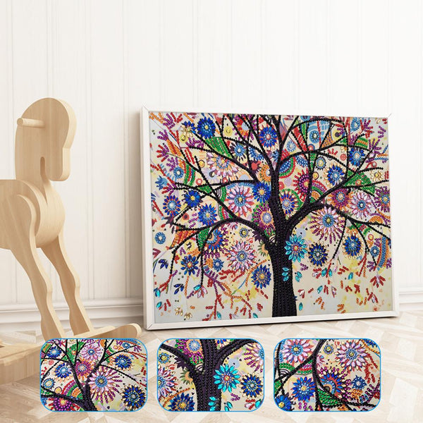 5D DIY Crystal Rhinestones Partial Drill Diamond Painting Tree Kit Wall Art
