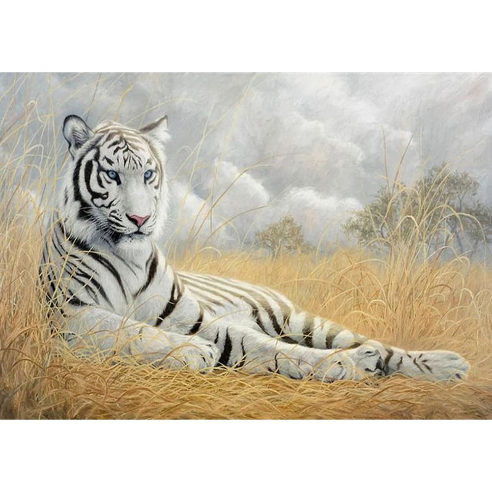 White Tiger DIY Full Drill Round Drill Diamond Painting