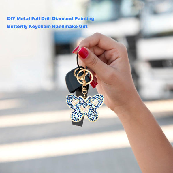 3pcs DIY Crystal Rhinestones Diamond Painting Butterfly Keychain