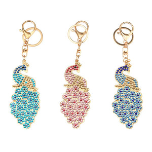 3pcs DIY Crystal Rhinestones Diamond Painting Peacock Keychain Bag Pendant