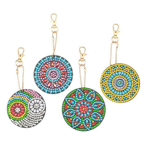 4pcs DIY Full Crystal Rhinestones Diamond Painting Bag Pendant Mandala Keychains