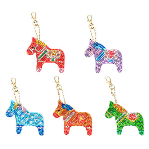 5pcs DIY Crytal Rhinestones Full Drill Diamond Paintng Animal Keychain
