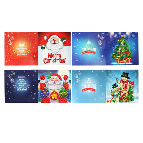4pcs 5D DIY Crystal Rhinestones Diamond Painting Christmas Greeting Card Birthday Festival Card