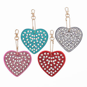 4pcs DIY Full Drill Crystal Rhinestones Diamond Painting Heart Shape Key Ring Pendant