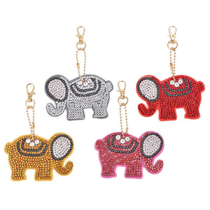 4pcs DIY Full Drill Crystal Rhinestones Diamond Painting Elephant Key Ring Pendant