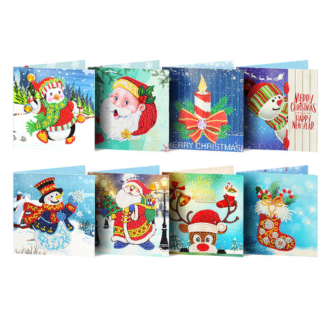8pc 5D DIY Diamond Painting Greeting Card Birthday Xmas Gift