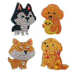 4pcs DIY Diamond Dog Keychain Special Full Drill Painting Women Bag Keyring