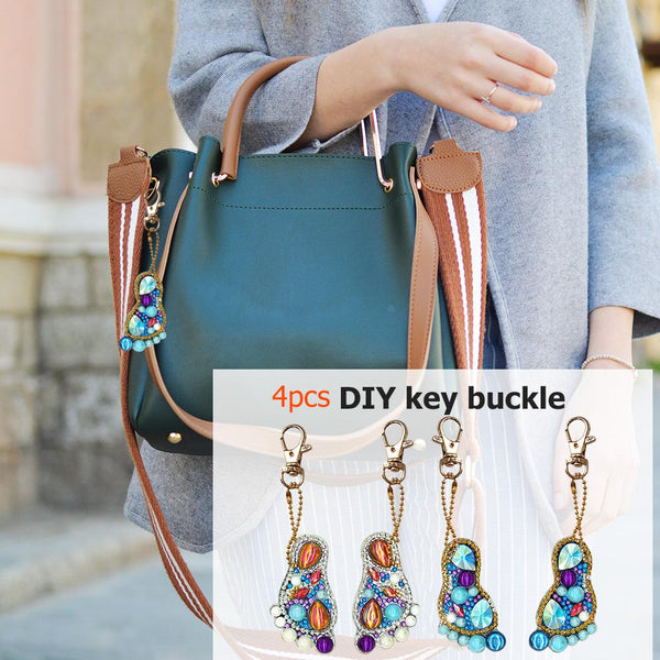 4pcs DIY Diamond Keychain Crystal Rhinestones Partial Drill Full Drill Feet Painting Keyring
