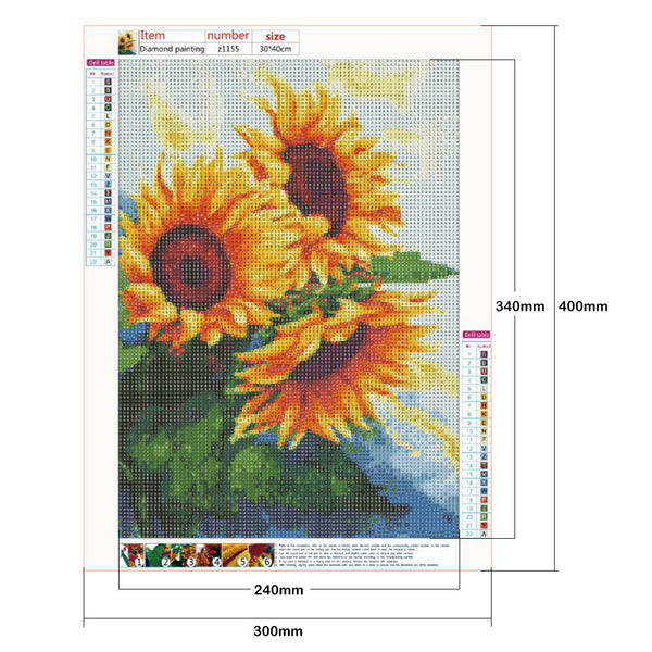 Sunflowers DIY 5D Full Drill Round Drill Diamond Painting