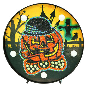 DIY Crystal Rhinestones Diamond Painting LED Lamp Pumpkin Halloween Decor