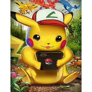 Pokémon Pikachu 5D DIY Full Round Drill Diamond Painting(40x50cm)