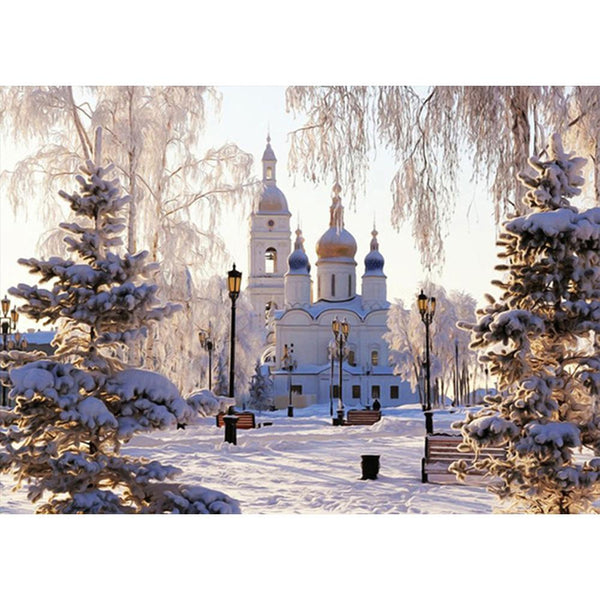 Snow Church Castle 5D DIY Full Drill Round Drill Diamond Painting