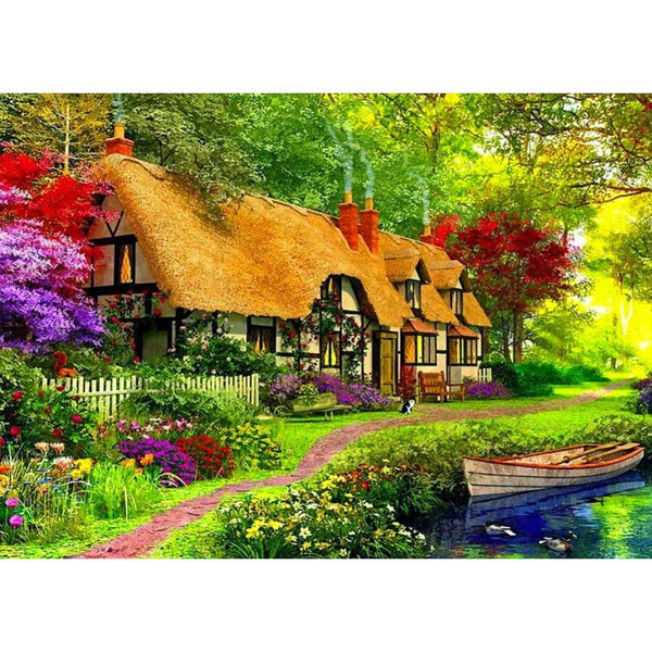 Countryside Colorful House 5D DIY Full Drill Round Drill Diamond Painting