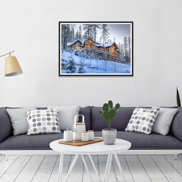 Snow Wooden House 5D DIY Full Drill Round Drill Diamond Painting