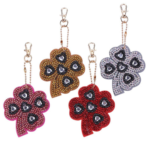 4pcs DIY Crystal Rhinestones Full Drill Diamond Painting Four leaf Clover Keychain Decor