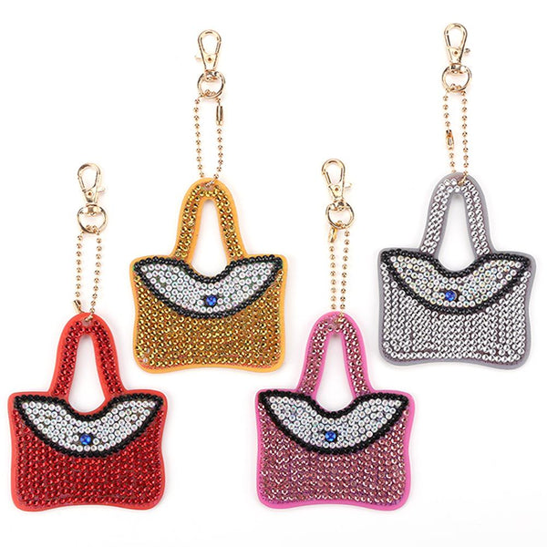 4pcs DIY Crystal Rhinestones Full Drill Diamond Painting Handbag Keychain Decor