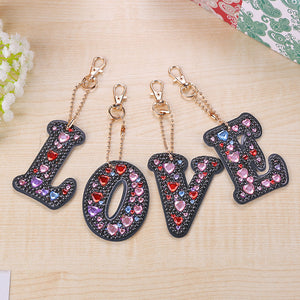 4pcs DIY Crystal Rhinestones Full Drill Diamond Painting Love Keychain Decor
