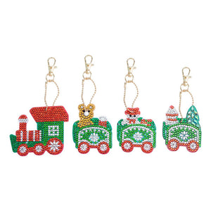 4pcs/Set DIY Crystal Rhinestones Full Drill Diamond Painting Christmas Train Keychain Decor